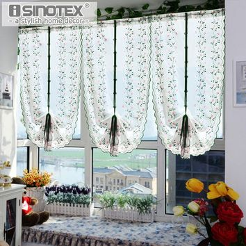 1PCS Roman Window Curtain Tulle Embroidered Voile Sheer Fresh Curtains For Kitchen Living Room Screening