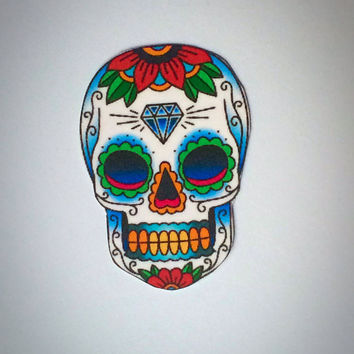 Large Colorful Skull Tattoo Temporary Set of 4 / Halloween Tattoos
