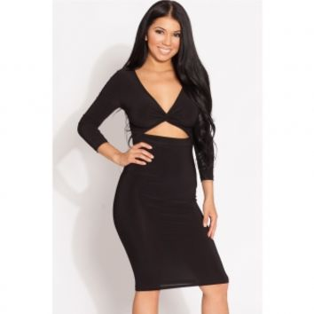 Black Twisted Cut Out Midi Body Con Dress @ Cicihot sexy dresses,sexy dress,prom dress,summer dress,spring dress,prom gowns,teens dresses,sexy party wear,ball dresses