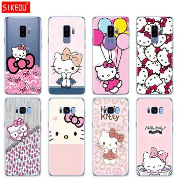 silicone case for Samsung Galaxy S9 S8 S7 S6 edge S5 S4 S3 PLUS phone cover Fashionable Hello Kitty
