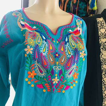 Mexican Embroidered Peacock Blouse Teal