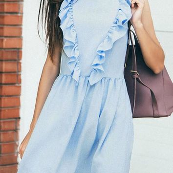 Sky Blue Ruffle Draped Zipper Round Neck Casual Maxi Dress