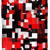 Red Black Checker Pattern Duvet Cover