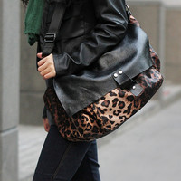 Brown Leopard Nylon Black Leather Trim Cross Body Bag. Animal Print Laptop Bag. Modern Unisex Leather Handbag