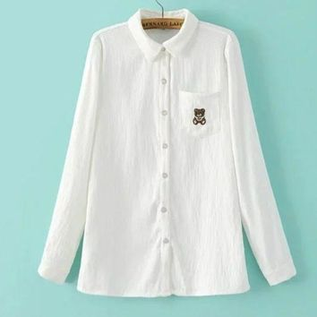 PEAPUF3 Fashion Casual White Long Sleeve Contracted T-shirt