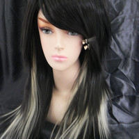SHOP-WIDE SALE Black and Blonde / Long Straight Layered Wig