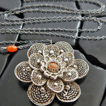 Antique Flower and Sterling Silver Pendant Necklace, Filigree Flower, Orange Stone Necklace, Antique Pendant, Oxidized Silver Necklace