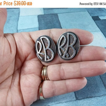 "Vintage Doris Silver Mexico Cufflinks Cuff Links Sterling Silver Mid Century Modern Collectibles Monogrammed ""RB"" Need Polishing If Desired"