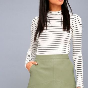 Harley Sage Green Vegan Leather Mini Skirt