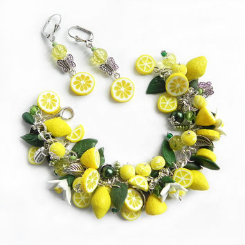 Lemon Bracelet and Earrings Polymer clay jewelry Set Gift for girlfriend handmade fruit jewelry Yellow citrus jewellery