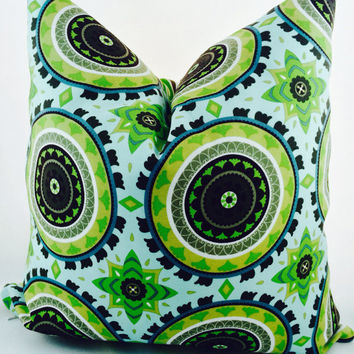 ChristmasinJulySALE Outdoor pillow covers from Tempo in aqua, white, spring green, electric lime and sepia brown