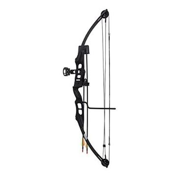 SAS Sergeant 55 Lb 29'' Compound Bow Package with 3-Pin Sight, Twister Arrow Rest, Quiver, Arrows, Arm Guard and Finger Tab (Black)