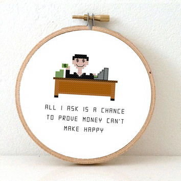 "Accountant banker Cross stitch pattern. Quote cross stitch: ""All I ask is a chance to prove money can't make happy"". Gift for banker."