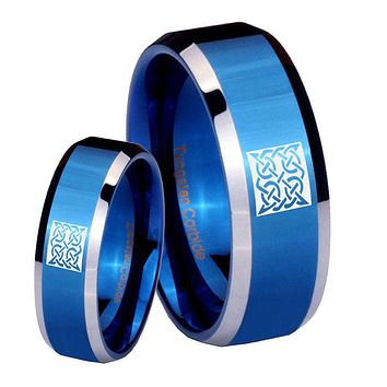 His Hers Celtic Design Beveled Edges Blue 2 Tone Tungsten Anniversary Ring Set