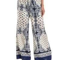 Blue Combo Scarf Print Palazzo Pants by En Crème at Charlotte Russe