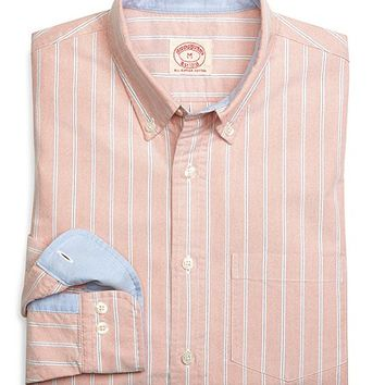 Orange and Blue Framed Stripe Sport Shirt - Brooks Brothers