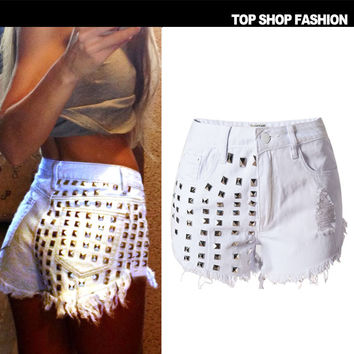 Sexy Women Girl Summer High Waist Ripped Hole Wash Denim Jeans Shorts Pants = 4721868228
