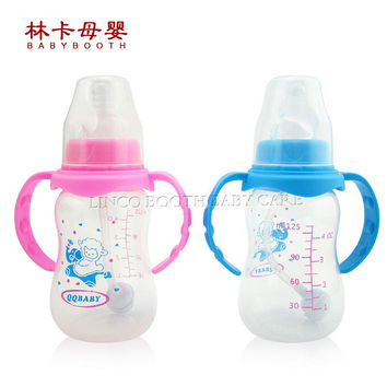 125ml Standard Caliber Pp Baby Bottles With Straw And Handles Prevent Bloating