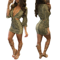 Snake Skin Print Plunging Mini Dress