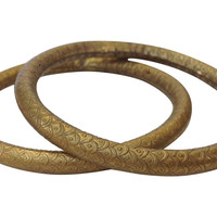 1970s Brass Snake-Scale Bangles, Pair