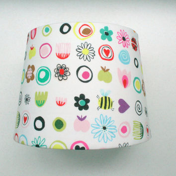 Fabric lampshade pair - designer fabric covered table lamp shades, set of two matching pair
