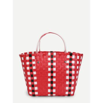 Red and White Woven Design Tote Bag - Purse - Large Bag - Beach Bag