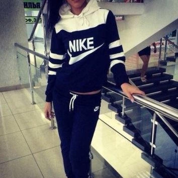 "Womens ""NIKE"" Print Hoodies Top Sweater Pants Sweatpants Two-piece Set"