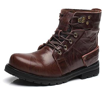 Cow Split Leather Motorcycle Ankle Boots
