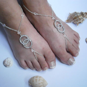 Silver Barefoot Sandles, Beaded Rhinestone Barefoot sandals, Pave Slave Anklet, Nude Shoes, Bridal sandals, Beach Wedding