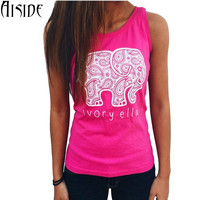 2016 Summer New fashion Sleeveless T-shirt Women Tops Tee Ivory Ella Print Animal Elephant T Shirt Loose Harajuku camisetas