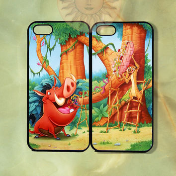 Pumba and Timon Couple Cases Lion King-iPhone 5, 5s, 4s, 4, ipod 5, Samsung GS3 GS4 case- silicone or Hard Plastic Case, Phone cover