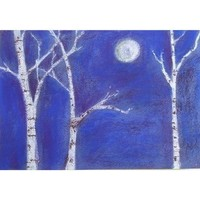 Painting Moonlight Sonata Birch Trees by watermediaworks on Etsy