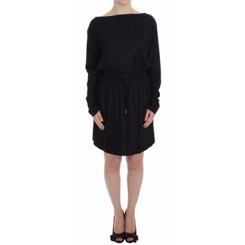Versace Black Modal Silk Shift Knee Dress