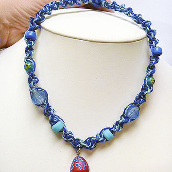 Shades of Blue 2 Hemp Necklace with Fimo Glass Mushroom handmade macrame jewelry    hippie