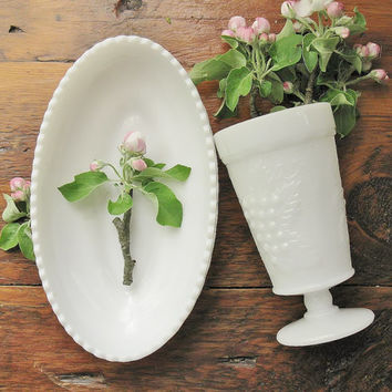 Imperial Milk Glass Oval Dish And Goblet, Grape & Leaf Bowl, Cup, Vase