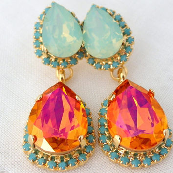 Shop Orange Chandelier Earrings On Wanelo - Orange chandelier crystals