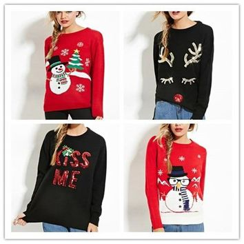 New year Women Winter Autumn 2018 Christmas Tree Snowman Deer Black Red O-Neck Knitted Pullover Cotton Streetwear Unif Sweater