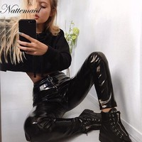NATTEMAID Zip Solid Summer PU Leather Pants Women Pencil Thin Sexy Trousers Female Low Waist Plus Size Bodycon Black Pants