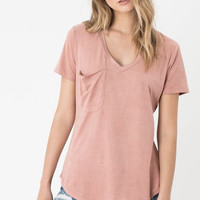 "Z Supply ""The Suede Pocket Tee""- Blossom Rose"