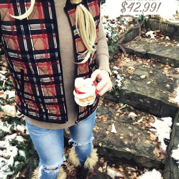 Cozy Plaid Vest + Knitted Hug Scarf