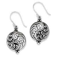 925 Sterling Silver Ying and Yang Dangle Earrings