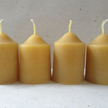 Organic Beeswax votive candles - 100% pure organic beeswax - old fashioned - eco friendly home decor - set of 4