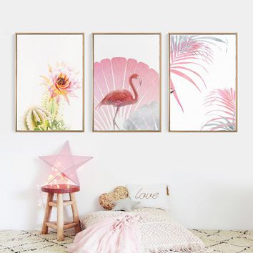 Pink Flamingo Unframed Modern Wall Art Pictures