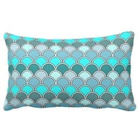 Aqua & Blue Scalloped Wave Lumbar Pillow