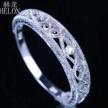 HELON Hot Selling Jewelry Solid 10k White Gold SI/H Diamonds Vintage Band Filigree Engrave Antique Wedding & Anniversary Ring
