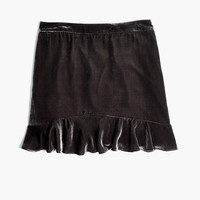 Velvet Ruffle-Edge Skirt : shopmadewell mini | Madewell
