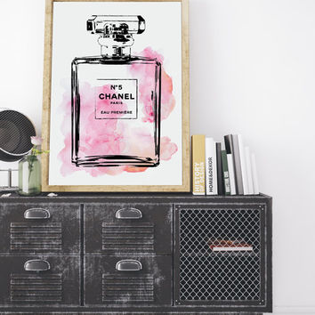 Coco Chanel Perfume Bottle Painting No5 water color digital art in pink, 24X36 inc Fashion illustration, Wall Art, Home Decor, Coco Chanel