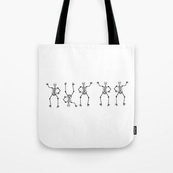 Black Skeleton on white Tote Bag by Zia