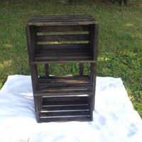 Wood Crate Shelf Unit From Reclaimed Wood, Espresso Finish, Home Decor, Storage Crates, Wooden Shelf Stand, Shelving Unit, Kitchen Decor