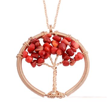 Coral ION Plated Rose Gold Stainless Steel Tree of Life With Chain (27 in)
